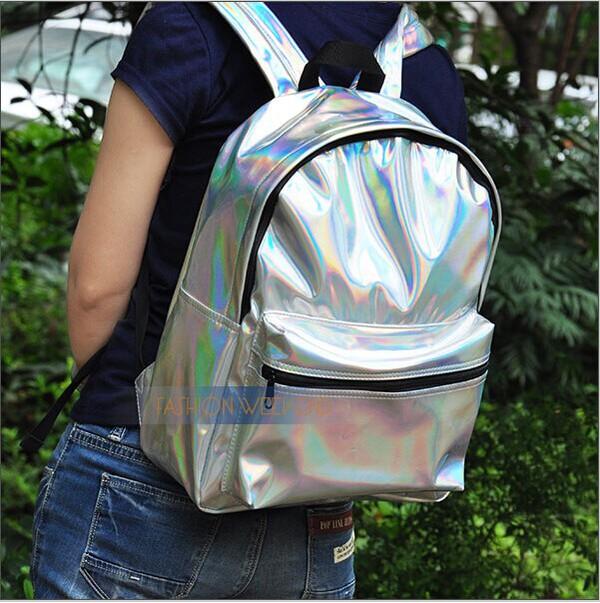 bag silver harajuku hologram laser backpack female student school bag women's tote bag