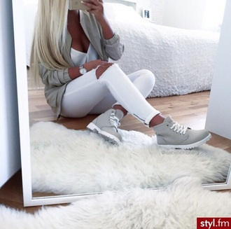 shoes blouse jeans cardigan hat jacket boots cute fashion style sneakers grey white gray jacket white jeans grey boots high top sneakers flat boots