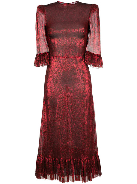 dress metallic women silk red