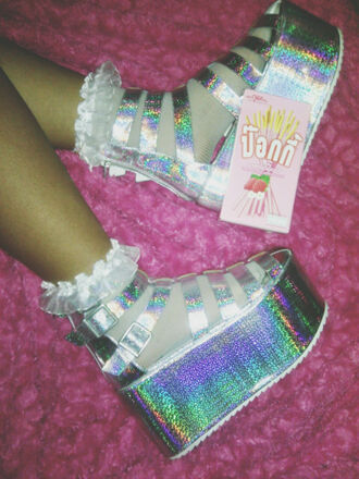 shoes cyber sandals ghetto hologram cyberghetto cute tall platform shoes cybergoth holographic