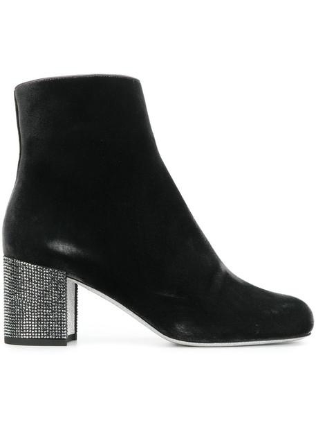 heel women heel boots leather black velvet shoes