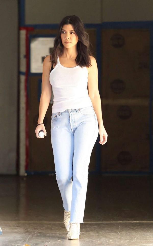 44b76f2bc6ba09 tank top top white white top kourtney kardashian kardashians jeans  streetstyle spring outfits.