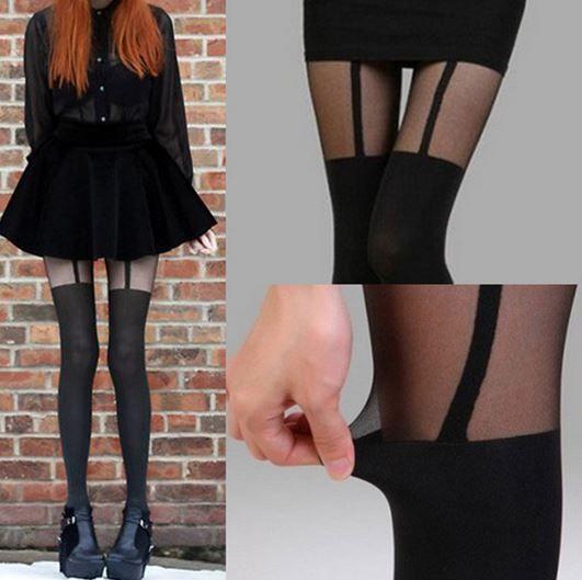Women girls sexy stockings pantyhose tattoo suspender sheer tights black hot