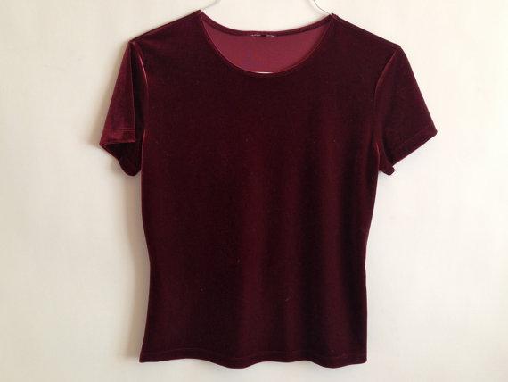 Dark red / burgundy velvet t shirt 90s by xblingringx on etsy