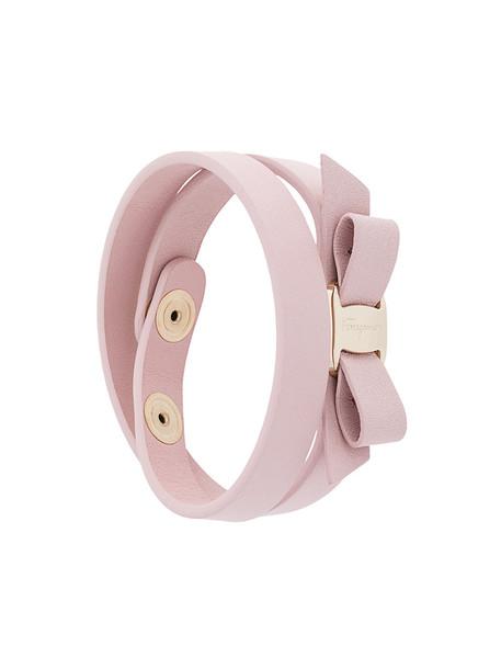 Salvatore Ferragamo bow women leather purple pink jewels