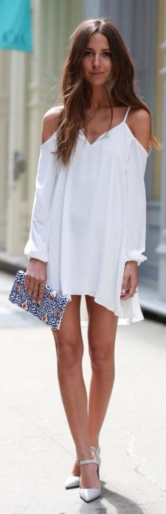 dress white dress floaty dress v neck dress shoulderless cut-out white open shoulders off the shoulder summer dress back to school zaful spaghetti strap blogger outfit lookbook boho boho chic cute summer trendy fashion style