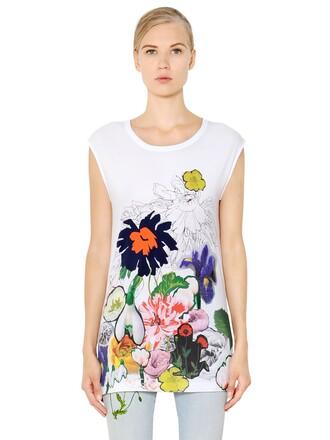 t-shirt shirt sleeveless cotton white top