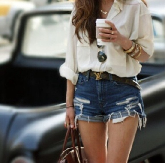 white pockets blouse rolled sleeves shorts belt