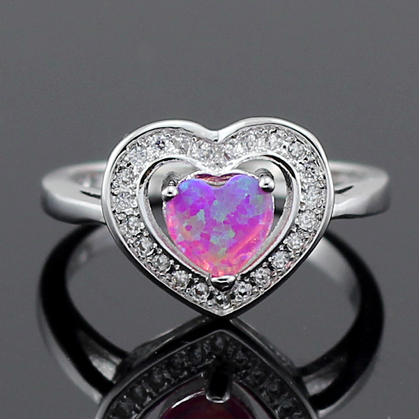 78cc93ea4d HAIMIS Heart Shape Pink Fire Opal CZ Women Claw Inay Fashion Jewelry Opal  Ring Size 8 ...