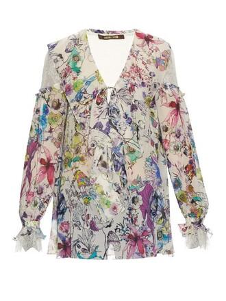 blouse print silk white top