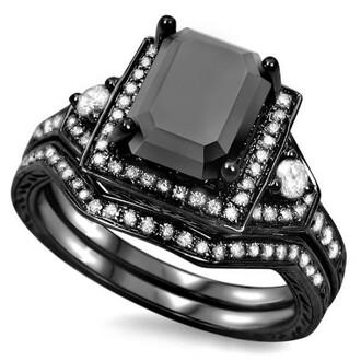 jewels black and white diamond ring ring set gorgeous 1.9 ct emerald cut black cubic zirconia engagement ring wedding set evolees.com