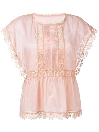 blouse embroidered lace purple pink top