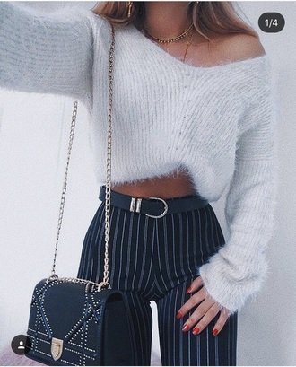 pants blue black stripes jeans cute tight skinny jeans high waisted belt funny sweater sweater light blue navy white