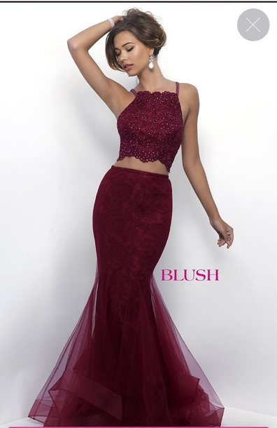 dress, mermaid, prom dress, crop top dress, burgundy, halter dress ...