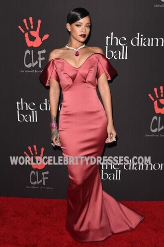 dress rihanna red mermaid off-the-shoulder prom dresses at valentino's new york city soiree