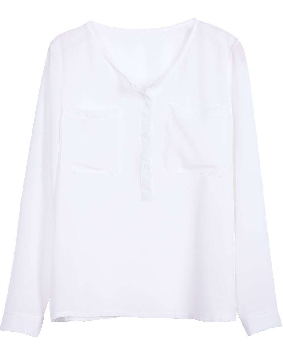 White Collarless Dipped Hem Long Sleeve Blouse with Front Pocket - Sheinside.com
