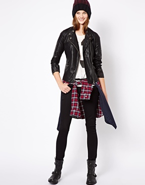 New Look Tall | New Look Tall Leather Look Biker Jacket at ASOS
