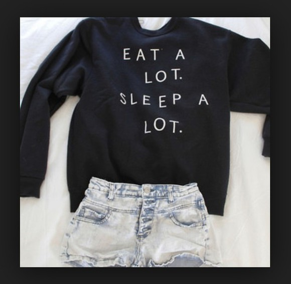 sweater food lazy day sleeping quote on it