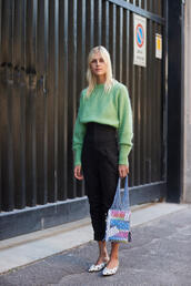 sweater,pants,tumblr,green sweater,black pants,cropped pants,shoes,mules,polka dots,bag,net bag