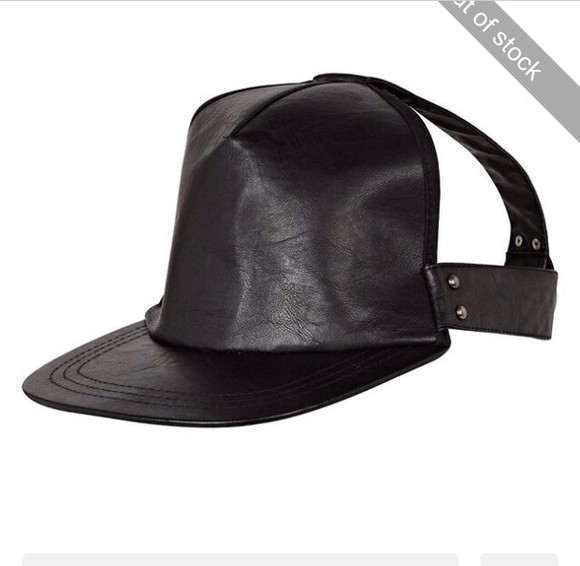 cut-out black hat cap leather biker rita ora rihanna river island