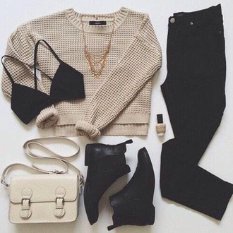 ankle boots black boots black jeans satchel bag beige sweater knitted sweater fine knit jumper black bra outfit shoulder bag cute outfits shoes booties shoes boots booties black sweater fall outfits cropped sweater black bralette winter outfits bralette fall sweater autumn/winter beige