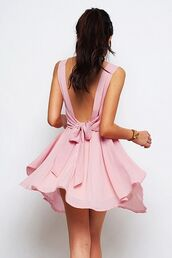 dress,pink,summer,pink bow dress cute little flowy rosy,pink dress,bow,tie,flowy,skater,fit and flare,mini,bow dress,pastel pink,pastel dress