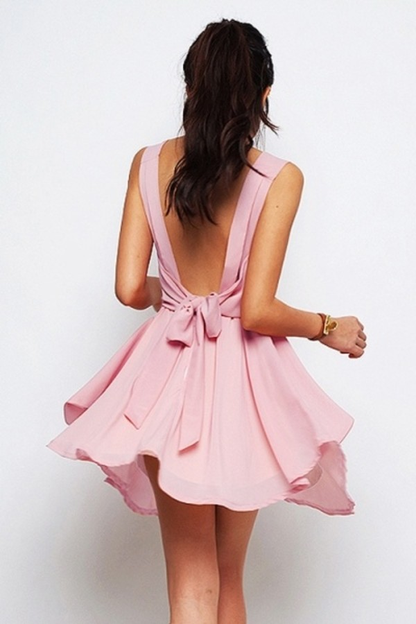 dress pink summer pink bow dress cute little flowy rosy pink dress bow tie flowy skater fit and flare mini bow dress pastel pink pastel dress