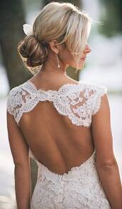 dress,beautiful,bride,white,open back,lace,dream,white prom dress,lace dress,open back lace dress,deb,hipster wedding,open back dresses,bridal gown,white dress,elegant dress,lace wedding dress