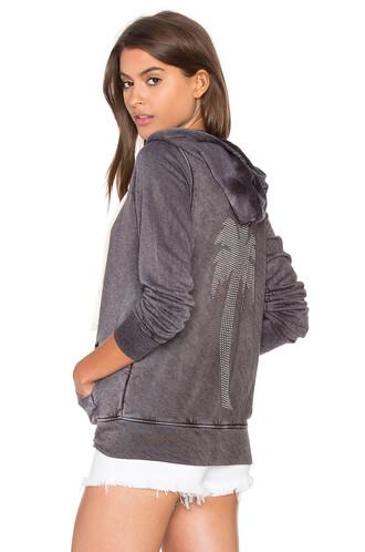 hoodie studs zip charcoal
