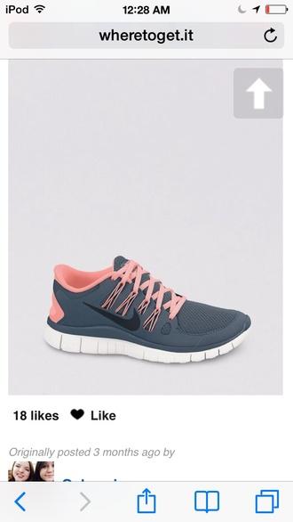 shoes nike salmon gray coral grey nike nike free run 5.0 grey sneakers nike running shoes grey shoes pink shoes nike shoes nike free run