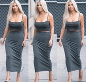 skirt,kim kardashian,kim kardashian style,kim kardashian dress,kim kardashian nude dress,midi skirt,grey,gray skirt,kim kardashian skirt and top set lace white
