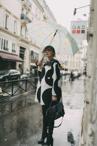 dress mini dress pants black pants leather pants boots black boots umbrella sunglasses polka dots