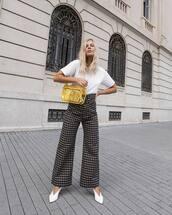 bag,shoulder bag,transparent  bag,plastic,checkered pants,wide-leg pants,high waisted pants,pumps,white t-shirt