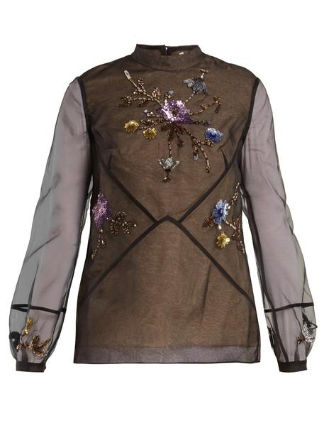 blouse embellished silk black top