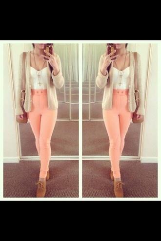 pants light pink high waisted jeans disco pants