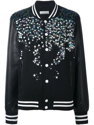jacket bomber jacket women embellished cotton black