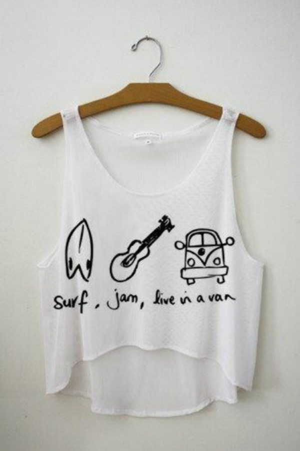 t-shirt clothes tank top white tank top shirt crop tops white summer sports surf jam van live beach top guitar combi van combi summer hippie