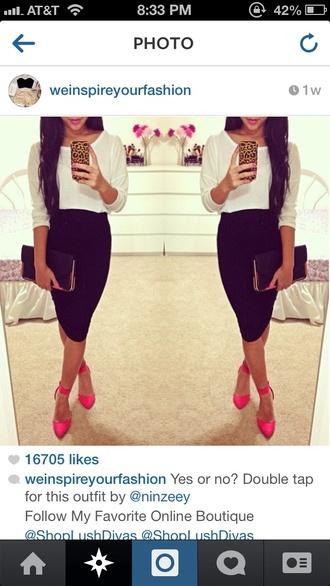 skirt black little black skirt midi midi skirt bodycon skirt