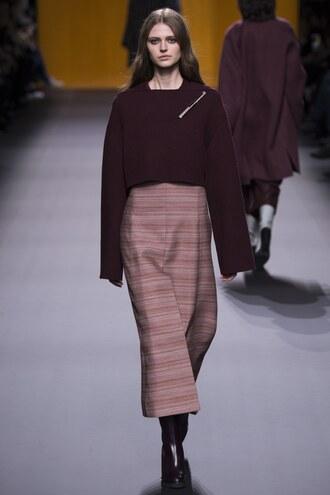 sweater cropped sweater cropped fashion week 2016 hermes paris fashion week 2016 pants skirt slit skirt