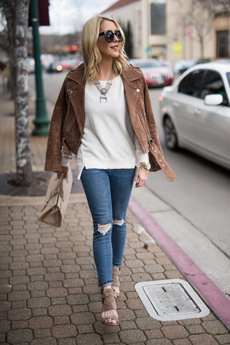 gbo fashion blogger top shoes sweater jacket jeans bag jewels handbag brown jacket spring outfits sandals