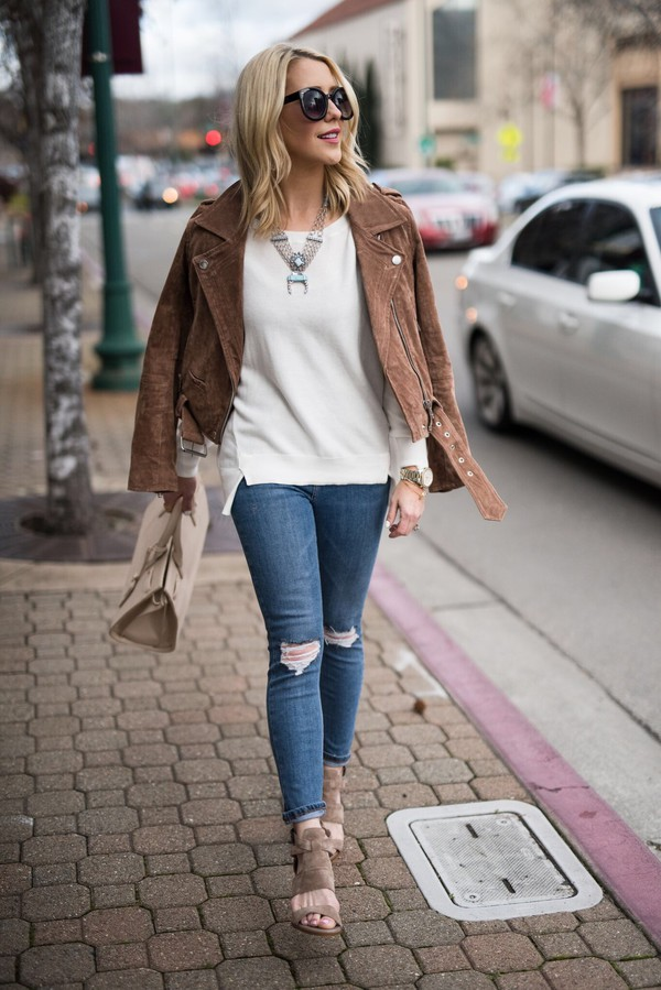 9a71972f5f9 gbo fashion blogger top shoes sweater jacket jeans bag jewels handbag brown  jacket spring outfits sandals.