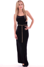 dress,popcouture,ladies,belted,maxi,black