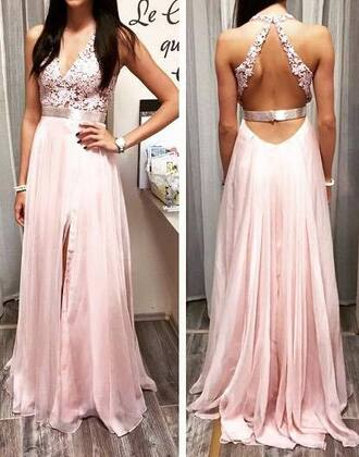dress prom dress pink dress backless backless dress pink evening dress