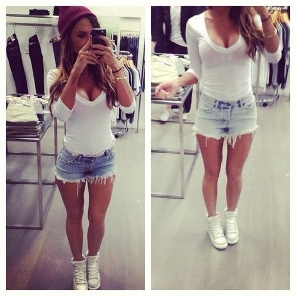 shoes white shoes shirt hat shorts blouse sweater
