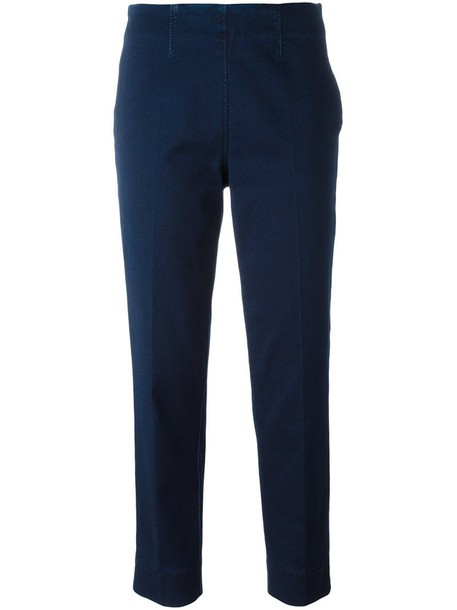 Piazza Sempione women spandex cotton blue pants