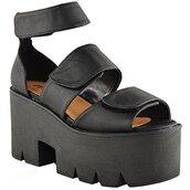 shoes,platform shoes,flatform,sandals,ankle strap,black,leather,chunky sole,velcro
