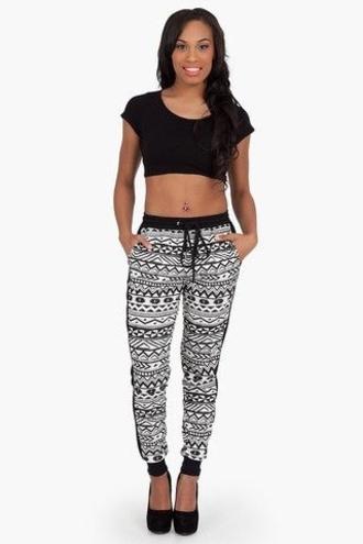 pants aztec print tribal black white gray aztec tribal aztec print jogger jogger pants aztec tribal print