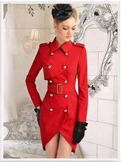 coat,red double breasted coat,red coat,double breasted button front