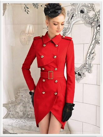 red coat coat red double breasted coat double breasted button front