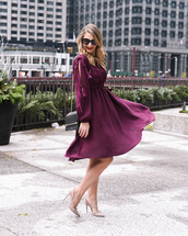 visions of vogue,blogger,dress,shoes,bag,sunglasses,jewels,purple dress,midi dress,pumps,valentino rockstud